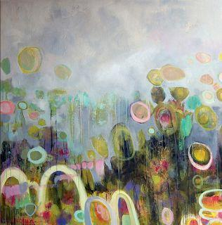 """Contemporary Abstract Mixed Media Painting """"TULIPMANIA 3""""-by Santa Fe Artist Annie O'Brien Gonzales"""
