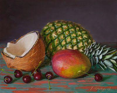 Pineapple coconut mango cherry daily painting a still life original contemporary realism