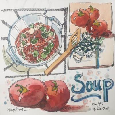 """Day 496 """"Minestrone"""" ink & watercolor"""