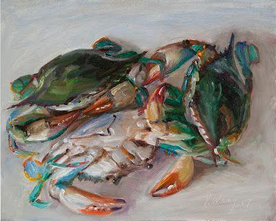 Blue crabs original oil painting still life contemporary realism