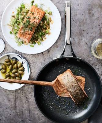 Sous Vide Salmon with Fennel and Green Olives