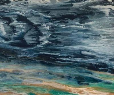 "Abstract Seascape, Coastal Living Decor, Contemporary Seascape, Ocean Wave Art ""Gulf Storm II-Electric Storm Series"
