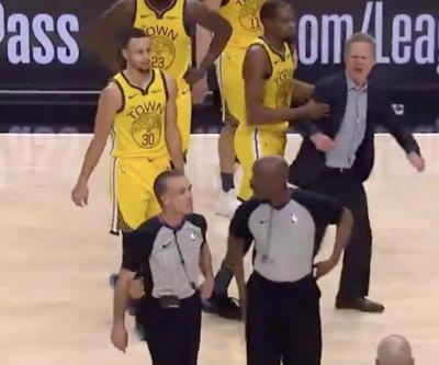 Watch: Warriors' Steve Kerr slams clipboard, yells at refs, gets ejected vs. Blazers