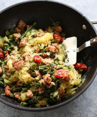 Spaghetti Squash Spaghetti with Broccolini, Chicken Sausage and Salsa Verde