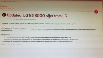 LG Pulls T-Mobile LG G6 Buy One Get One Free Offer