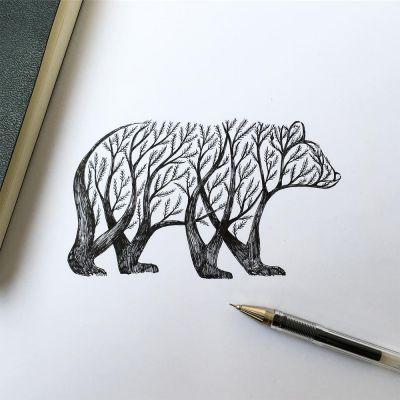 New Pen & Ink Depictions of Trees Sprouting into Animals by Alfred Basha
