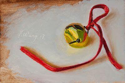 A Christmas bell small work of art still life contemporary realism a painting a day daily painting