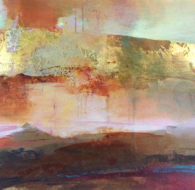 """Contemporary Abstract Landscape Mixed Media Painting """"Evening Promises"""" by Intuitive Artist Joan Fullerton"""