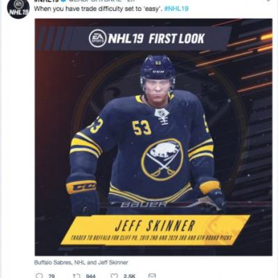 EA Sports chirps Hurricanes for Jeff Skinner trade