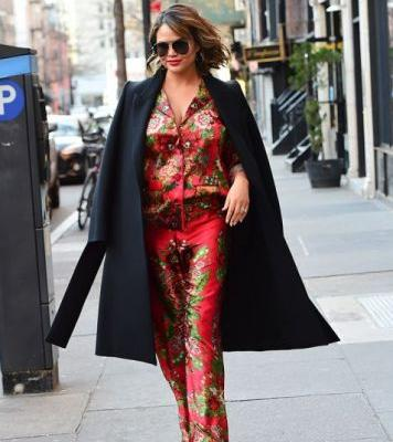 Chrissy Teigen Crushes Maternity Street Style in Chic Floral Pajama Set