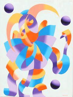 Mark Webster - The Juggling Court Jester - Abstract Geometric Futurism Oil Painting