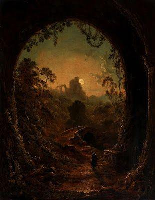 Follower of Henry Pether, A moonlit landscape with a monk entering a ruined abbey
