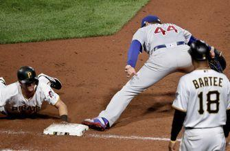 Cubs turn record-tying 7 double plays, edge Pirates 1-0