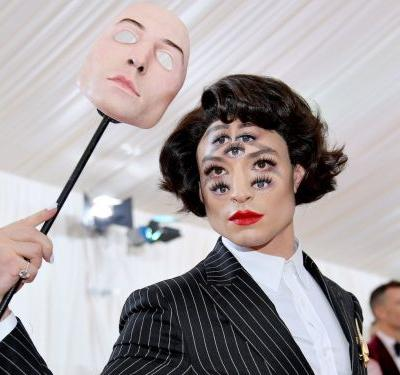 Ezra Miller turned his face into an optical illusion for the Met Gala that made it look like he had 7 eyes