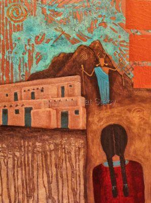 """Original Abstract Mixed Media Girl Figure Adobe House Mystical Painting """"The Dreamer"""" by Contemporary Arizona Artist Pat Stacy"""