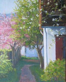 'Spring Blossoms in Giverny' An Original Oil Painting by Claire Beadon Carnell