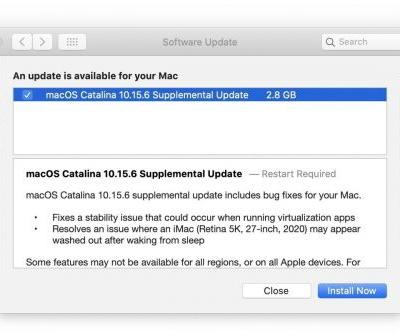 Apple releases macOS Catalina 10.15.6 Supplemental Update