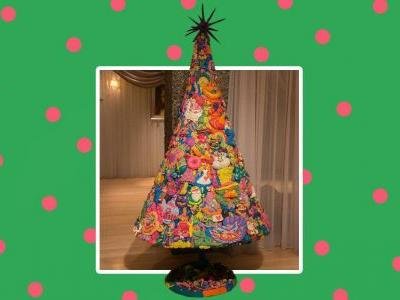 This Christmas tree is made from Alice in Wonderland characters