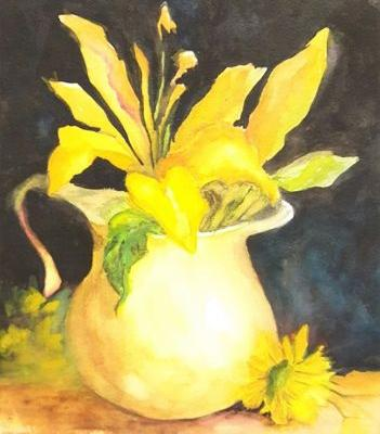 Yellow Lilies and Pitcher,watercolor, floral,Barbara Haviland,Texas Floral Artist