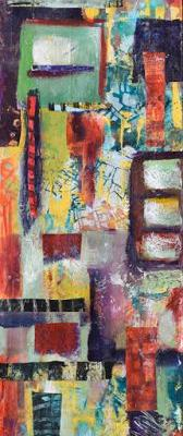 """Vertical Art, Contemporary Abstract Painting, Mixed Media, Art For Sale """"Cityscape"""" by Santa Fe Contemporary Artist Sandra Duran Wilson"""