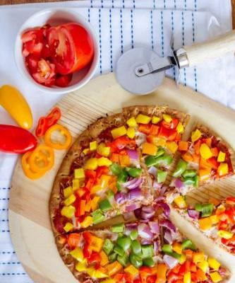 Rainbow Bell Peppers Pizza Recipe