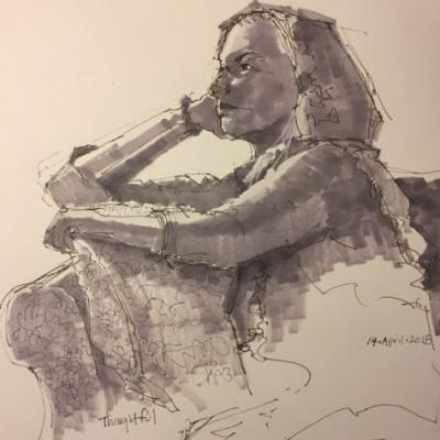 """Day 196 """"Thoughtful"""" 11 x 11 pen, ink, marker"""