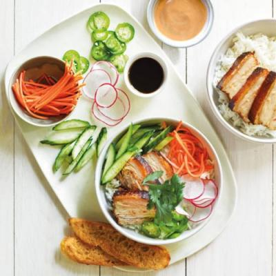 Pork Belly Bahn Mi Bowl with Pickled Carrots