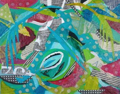 """Contemporary Colorful Mixed Media Collage Art Painting """"Palms and Print"""" by Santa Fe Contemporary Artist and Designer Melanie Birk"""