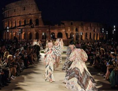 Fendi honours Karl's memory with couture show in restored Roman temple