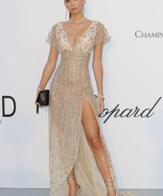 A glowing Cindy Mello at the amfAR gala during the 71st Cannes