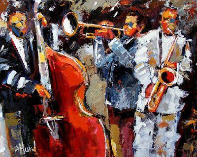 "Abstract Jazz Music Paintings Instruments Painting Fine Art ""Wild Jazz"" by Texas Artist Debra Hurd"