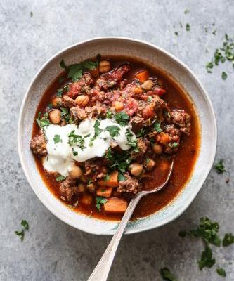 Moroccan Lamb Chili with Sweet Potatoes, Chickpeas and Kale {Video}