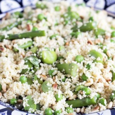 Couscous, asparagus and broad beans