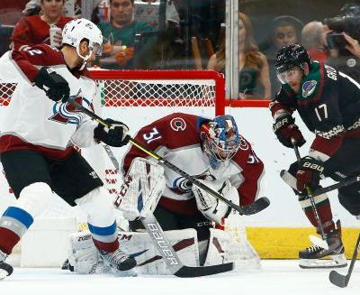 Compher's 2 short-handed goals lead Avs past Coyotes 5-1