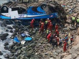 Peru bus crashes onto rocky beach killing at least 48 people