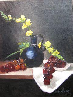 Snapdragons,Grapes and Flowers,still life, oils on canvas,Barbara Haviland