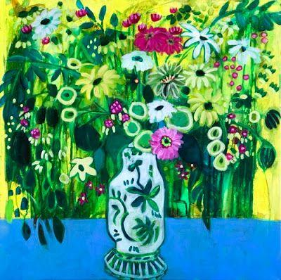 """Contemporary Expressionist Still Life Art,Bold Expressive Painting """"Flores Verdes"""" by Santa Fe Artist Annie O'Brien Gonzales"""