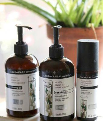 "ApotheCARE Essentials Vanilla Argan Oil Sweet Almond Shampoo, Conditioner and ""The Mender"" Hair Oil"