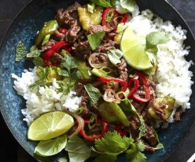 Spicy Beef Larb with Coconut Rice