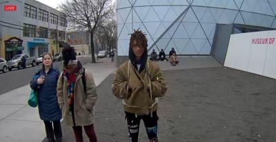 """Jaden Smith is the first person to use Shia LaBeouf's four year anti-Trump live stream of """"He will not divide us"""" in NYC"""