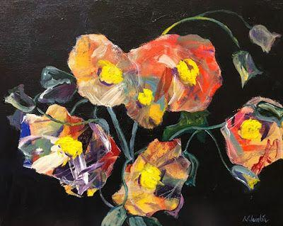 """Contemporary Expressionist Still Life Fine Art Painting """"Summer's Last Blooms"""" by Oklahoma Artist Nancy Junkin"""