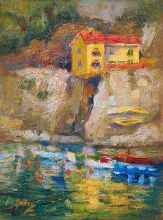 """""""House on a Hill"""" Palette Knife Painting from Cinque Terre, Italy by Niki Gulley"""