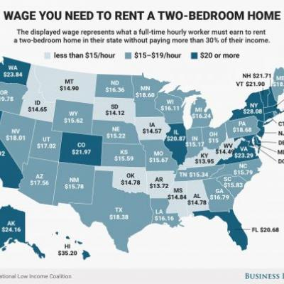 The hourly wage needed to rent a two-bedroom home in every state
