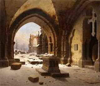 Carl Georg Adolph Hasenpflug, Ruins of an Abbey in Winter with a View of Walkenried