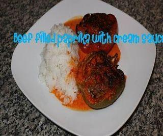 Beef Filled Paprika With Cream Sauce Recipe