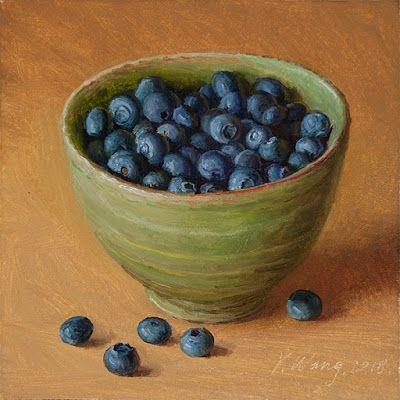 Blueberries in a bowl, still life oil painting original daily painting a painting a day food painting small work or art