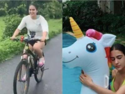 Sara Ali Khan keeps workout in Goa fun, spends time cycling and taking laps in pool