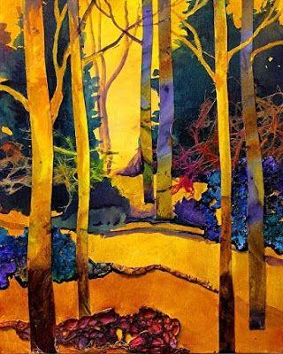 "Mixed Media Abstracted Trees Collage, ""Sunny Day 3"" by Mixed Media Artist Carol Nelson Fine Art"