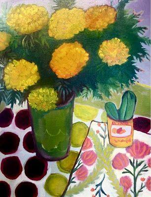 """Contemporary Abstract Still Life Art,Bold Expressive Painting """"MARIGOLDS and CACTUS"""" by Santa Fe Artist Annie O'Brien Gonzales"""