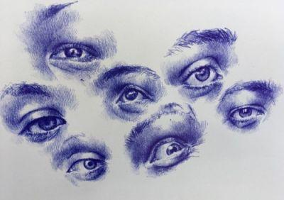 Then I'll lay off the eye obsession for a bit. Bic pen on